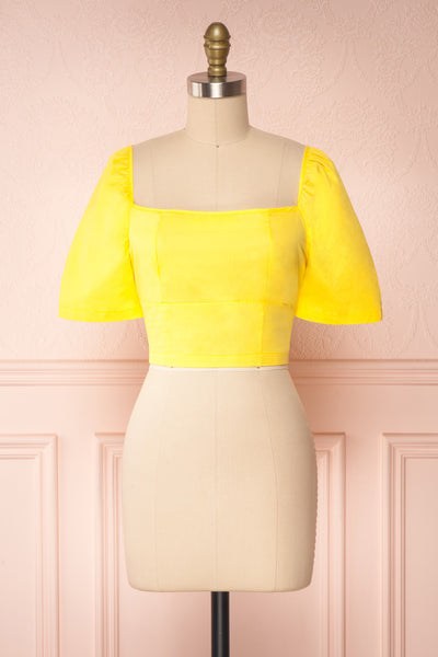 Hosanna Yellow Short Sleeve Crop Top | Boutique 1861  front view