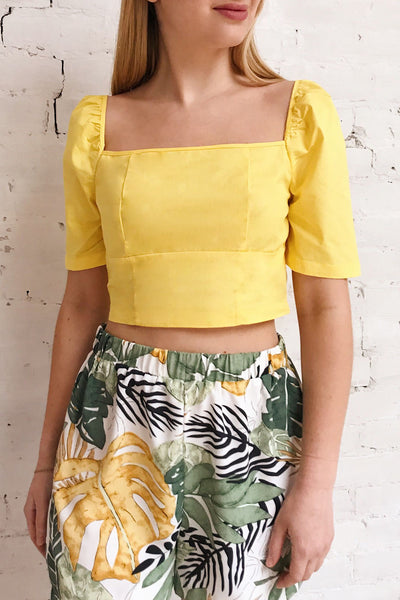 Hosanna Yellow Ruched Short Sleeve Crop Top | Boutique 1861 on model