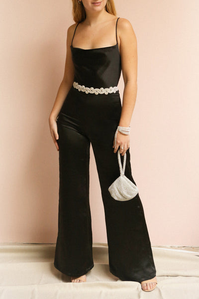 Hosmerim | Black Satin Jumpsuit