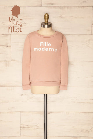 Hostka Pétale Mini Kids Taupe Sweater with Text | La Petite Garçonne