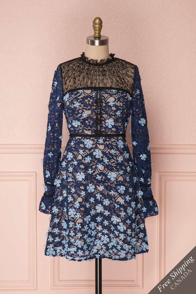 Huang Blue Ruffled Openwork A-line Dress with Flowers | Boutique 1861