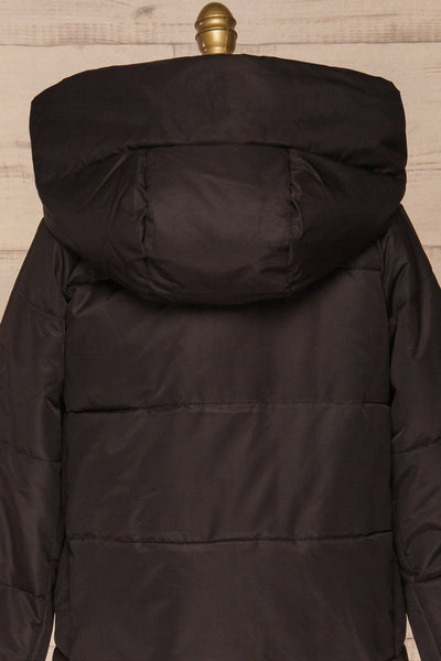 Huddersfield Black Short Quilted Coat with Hood | La Petite Garçonne back close-up
