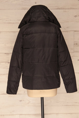 Huddersfield Black Short Quilted Coat with Hood | La Petite Garçonne back view hood