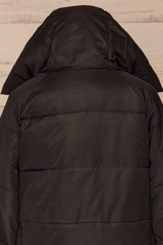 Huddersfield Black Short Quilted Coat with Hood | La Petite Garçonne back close-up hood