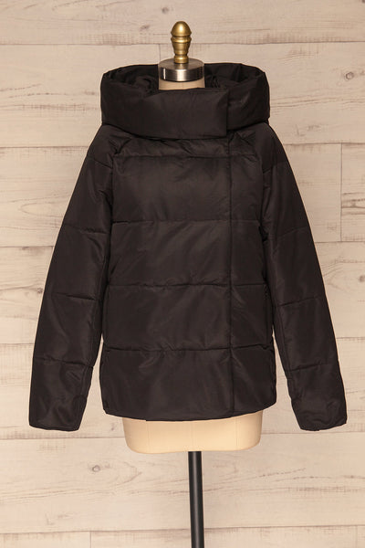 Huddersfield Black Short Quilted Coat with Hood | La Petite Garçonne front view