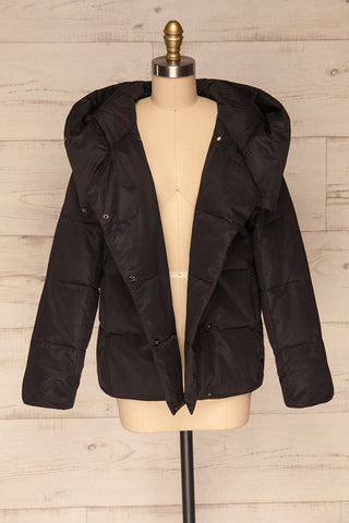 Huddersfield Black Short Quilted Coat with Hood | La Petite Garçonne front view open