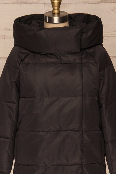 Huddersfield Black Short Quilted Coat with Hood | La Petite Garçonne front close-up