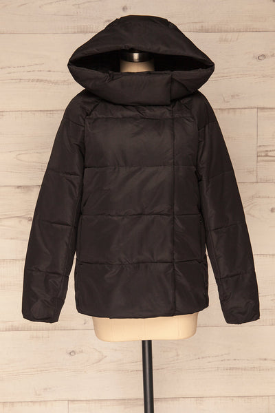 Huddersfield Black Short Quilted Coat with Hood | La Petite Garçonne front view hood