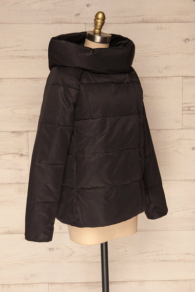 Huddersfield Black Short Quilted Coat with Hood | La Petite Garçonne side view