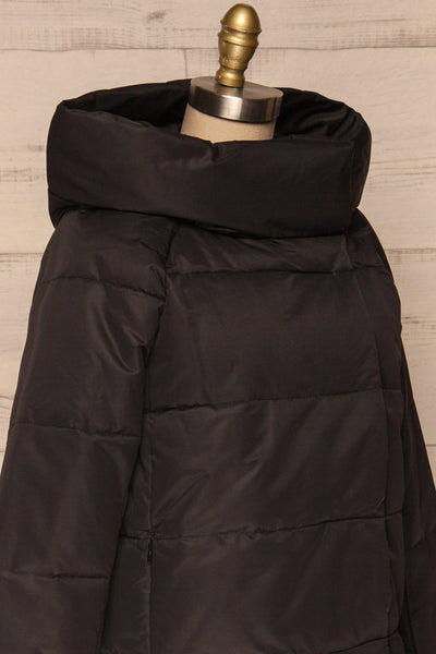 Huddersfield Black Short Quilted Coat with Hood | La Petite Garçonne side close-up