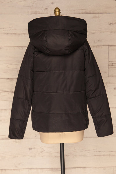 Huddersfield Black Short Quilted Coat with Hood | La Petite Garçonne back view