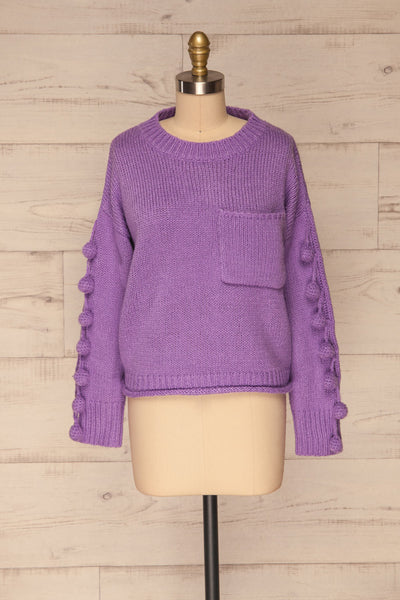 Huesca Purple Pompom Knitted Sweater | La petite garçonne  front view
