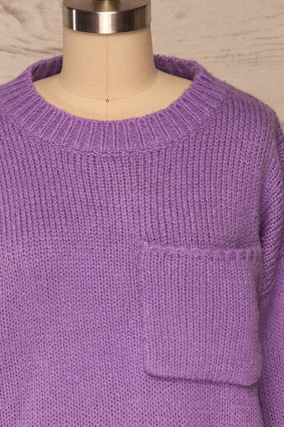 Huesca Purple Pompom Knitted Sweater | La petite garçonne front close up