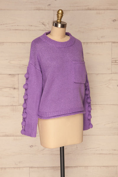 Huesca Purple Pompom Knitted Sweater | La petite garçonne side view