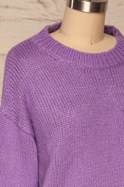 Huesca Purple Pompom Knitted Sweater | La petite garçonne side close up