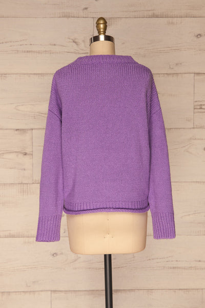 Huesca Purple Pompom Knitted Sweater | La petite garçonne  back view