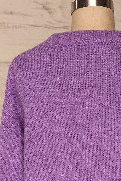 Huesca Purple Pompom Knitted Sweater | La petite garçonne back close up