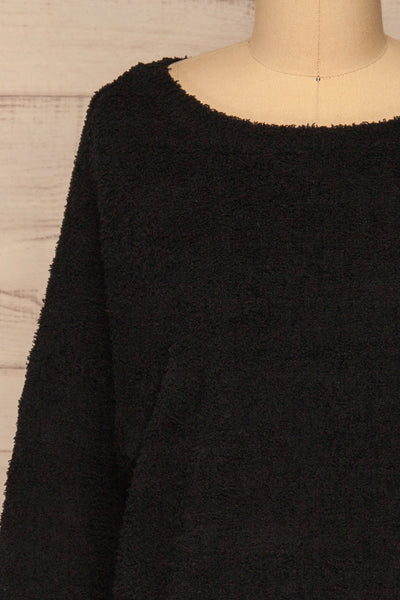 Hult Black Fuzzy Long Sleeve Sweater | La petite garçonne front close-up
