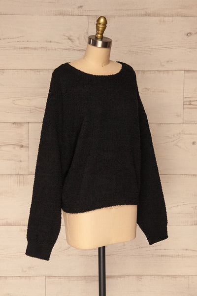 Hult Black Fuzzy Long Sleeve Sweater | La petite garçonne side view