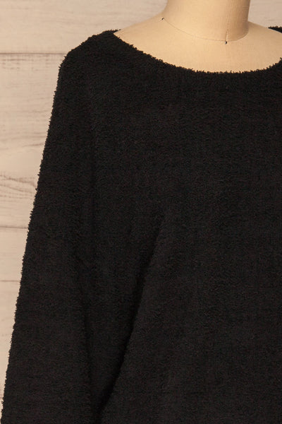 Hult Black Fuzzy Long Sleeve Sweater | La petite garçonne side close-up
