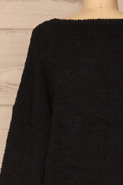 Hult Black Fuzzy Long Sleeve Sweater | La petite garçonne back close-up