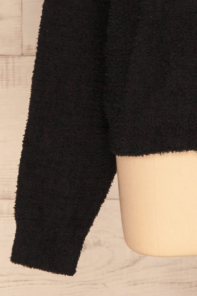 Hult Black Fuzzy Long Sleeve Sweater | La petite garçonne bottom