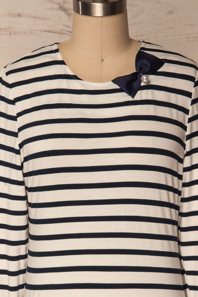 Husinec Navy Blue & White Striped Top with Bow | La Petite Garçonne 2