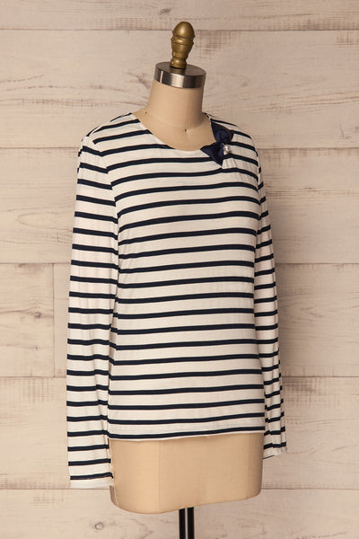 Husinec Navy Blue & White Striped Top with Bow | La Petite Garçonne 3