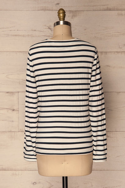 Husinec Navy Blue & White Striped Top with Bow | La Petite Garçonne 5