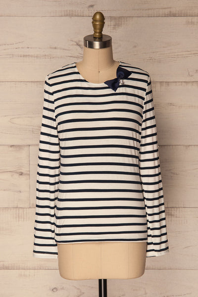 Husinec Navy Blue & White Striped Top with Bow | La Petite Garçonne 1