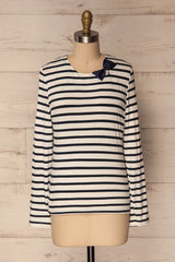 Husinec Navy Blue & White Striped Top with Bow | La Petite Garçonne