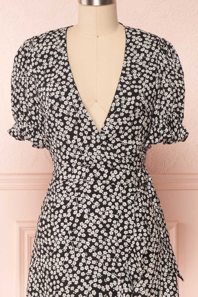 Hyemi Coal Black & White Floral Summer Wrap Dress | Boutique 1861