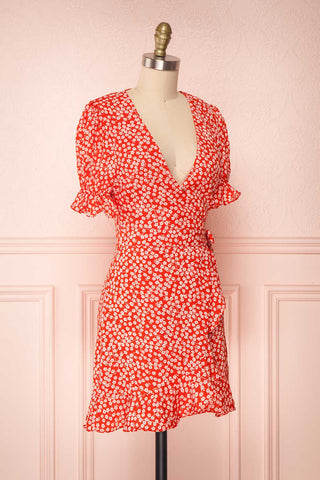 Hyemi Fire Red & White Floral Summer Wrap Dress | Boutique 1861