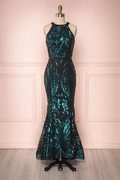 Idalie Emerald Black & Green Sequined Mermaid Dress | Boutique 1861