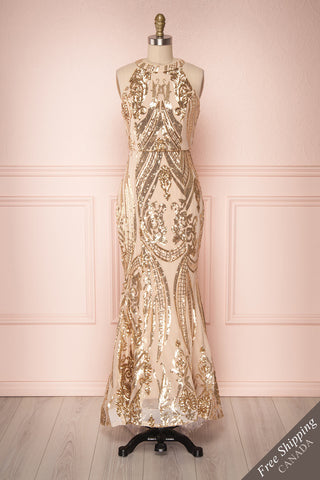 Idalie Gold & Beige Sequined Mermaid Dress | Boutique 1861