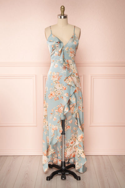 Ignatia Blue Floral Maxi Dress w/ Ruffles | Boutique 1861 front view