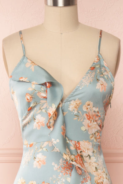 Ignatia Blue Floral Maxi Dress w/ Ruffles | Boutique 1861 front close up