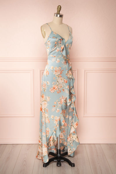 Ignatia Blue Floral Maxi Dress w/ Ruffles | Boutique 1861 side view
