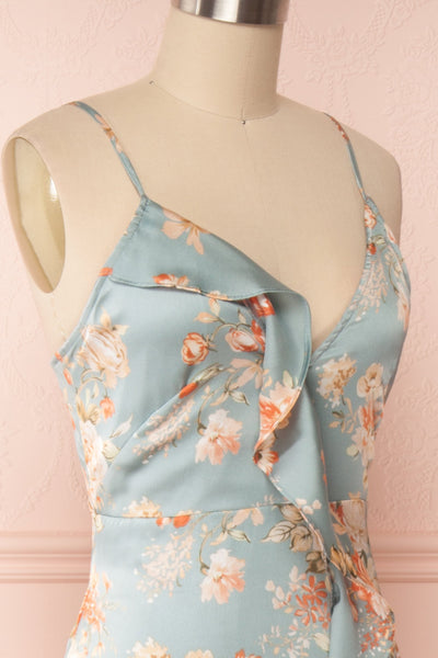 Ignatia Blue Floral Maxi Dress w/ Ruffles | Boutique 1861 side close up