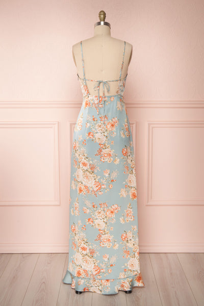 Ignatia Blue Floral Maxi Dress w/ Ruffles | Boutique 1861 back view