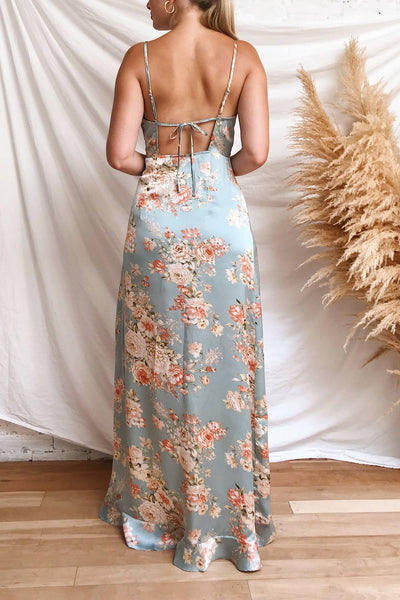 Ignatia Blue Floral Maxi Dress w/ Ruffles | Boutique 1861 model back