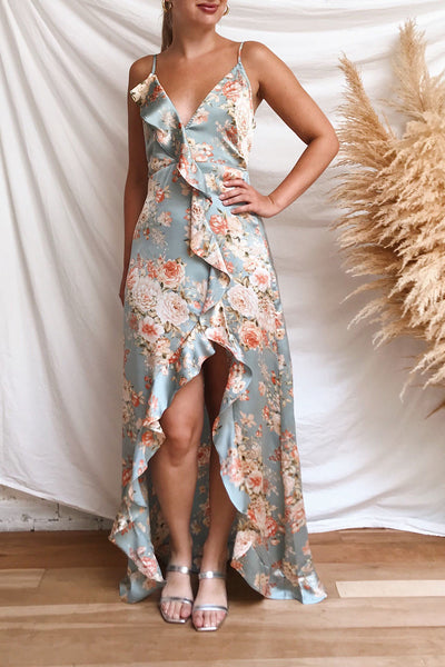 Ignatia Blue Floral Maxi Dress w/ Ruffles | Boutique 1861 model look