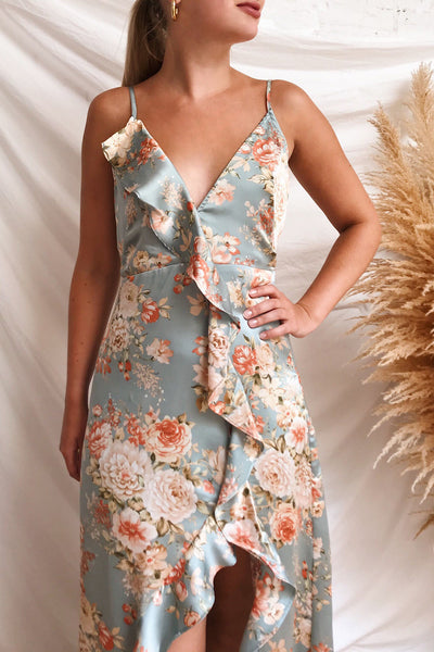 Ignatia Blue Floral Maxi Dress w/ Ruffles | Boutique 1861 on model
