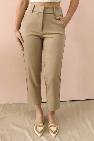 Issie Ginger Sand Beige Straight Leg Pants | La petite garçonne on model