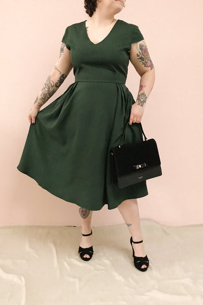 Iktomi Green V-Neck A-Line Midi Dress | Boutique 1861 model look