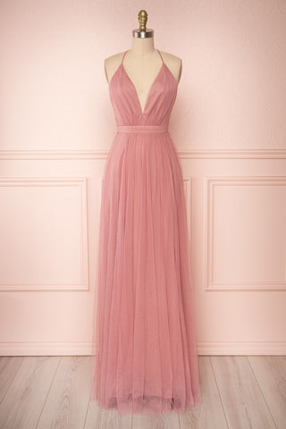 Ilaria Rose Pink Mesh Gown with Plunging Neckline | Boutique 1861 front view