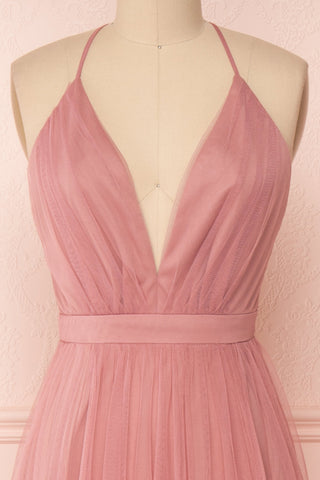 Ilaria Rose Pink Mesh Gown with Plunging Neckline | Boutique 1861 front close-up