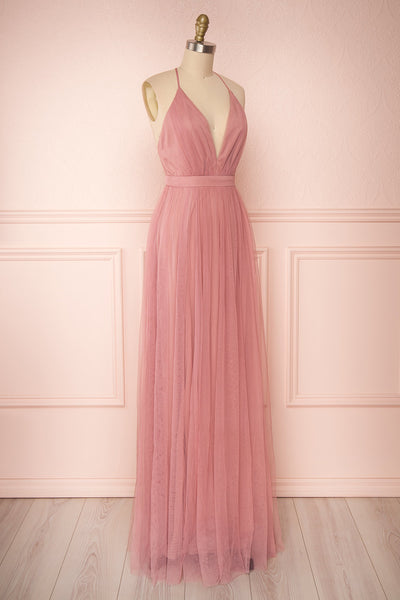 Ilaria Rose Pink Mesh Gown with Plunging Neckline | Boutique 1861 side view