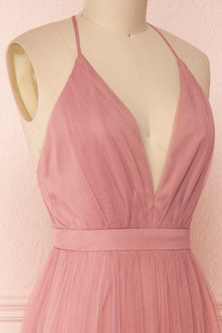 Ilaria Rose Pink Mesh Gown with Plunging Neckline | Boutique 1861 side close-up