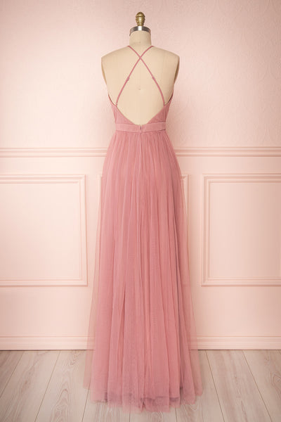 Ilaria Rose Pink Mesh Gown with Plunging Neckline | Boutique 1861 back view